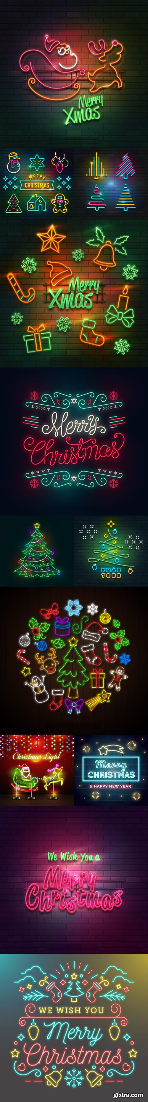 Christmas Neon Lights Collection in Vector [Ai/EPS]