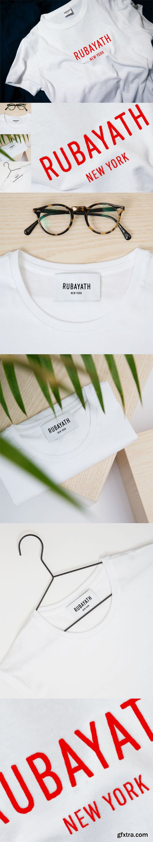 T-Shirt Stitched Logo & Tags PSD Mockup