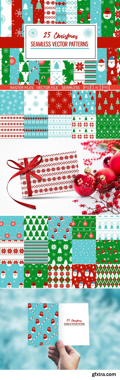 Christmas Patterns Vector Collection 3
