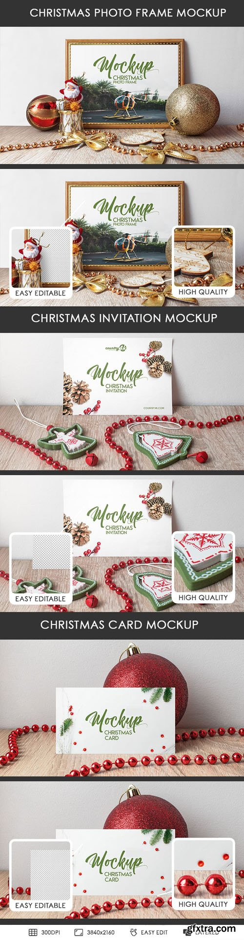 Christmas Invitation Cards & Photo Frame PSD MockUps in 4k