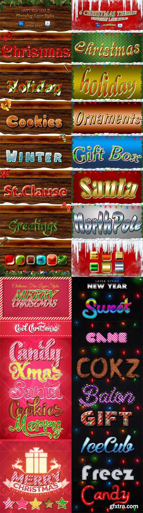 Holiday & Christmas Photoshop Layer Styles Pack 1