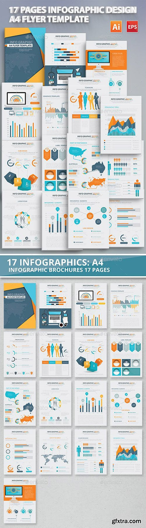 17 Pages Info Graphic Elements Design 12714576