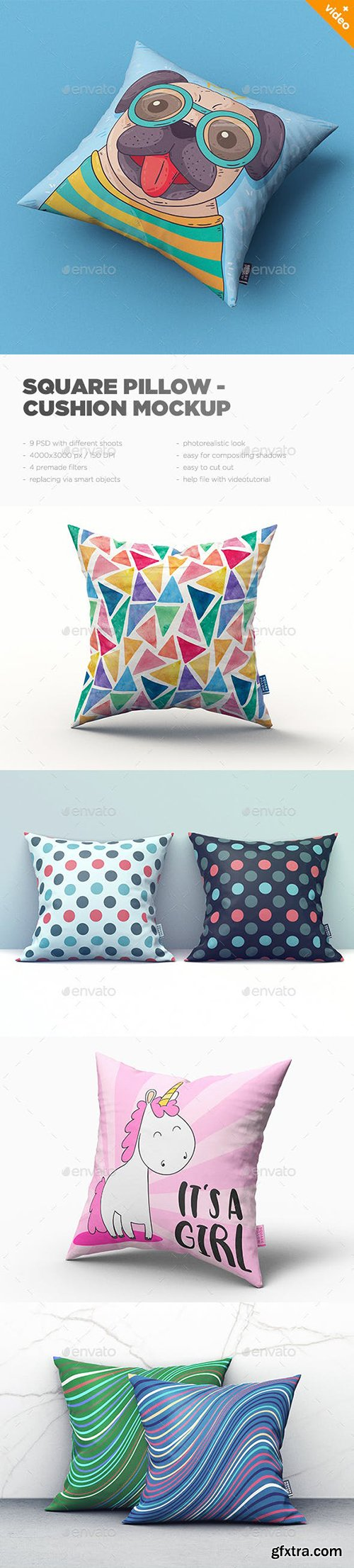 Graphicriver - Square Pillow / Cushion MockUp 22996798