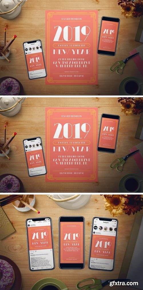 Living Coral New Year Flyer Set