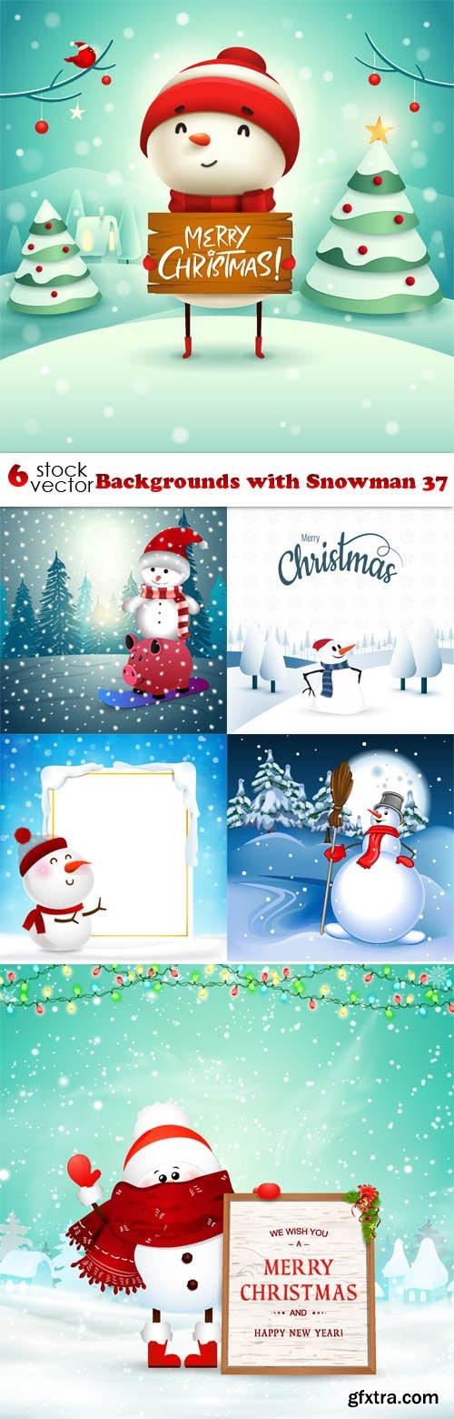 Vectors - Backgrounds with Snowman 37