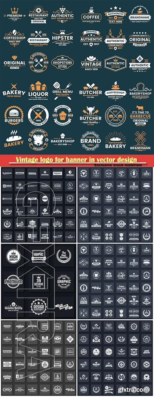 Vintage logo for banner in vector design