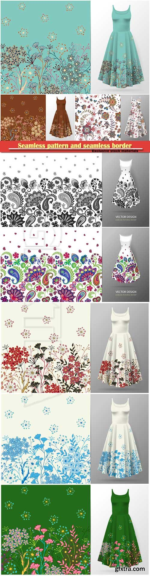Seamless pattern and seamless border for dress mock up vector illustration