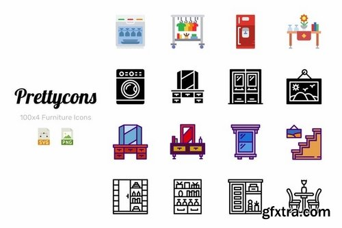 Prettycons - 400 Furniture Icons Vol1