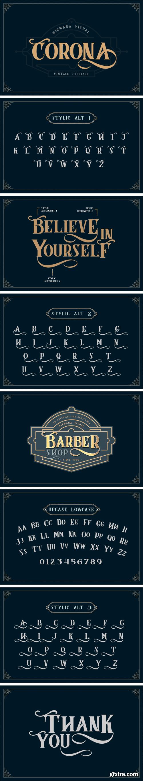 Fontbundles - Corona Vintage Typeface 179120