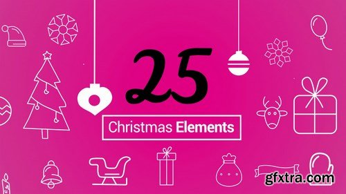 MA - 25 Christmas Outlined Elements Motion Graphics Templates 149708