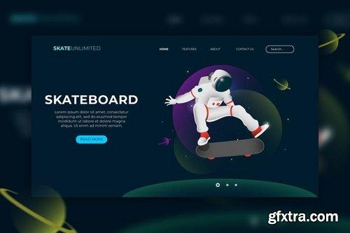 Skateboard Web Header Vector Template