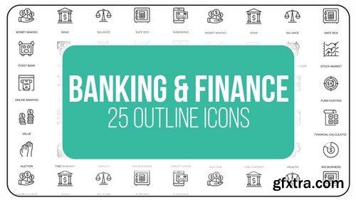 MotionArray - Banking And Finance - 25 Outline Icons After Effects Templates 149527