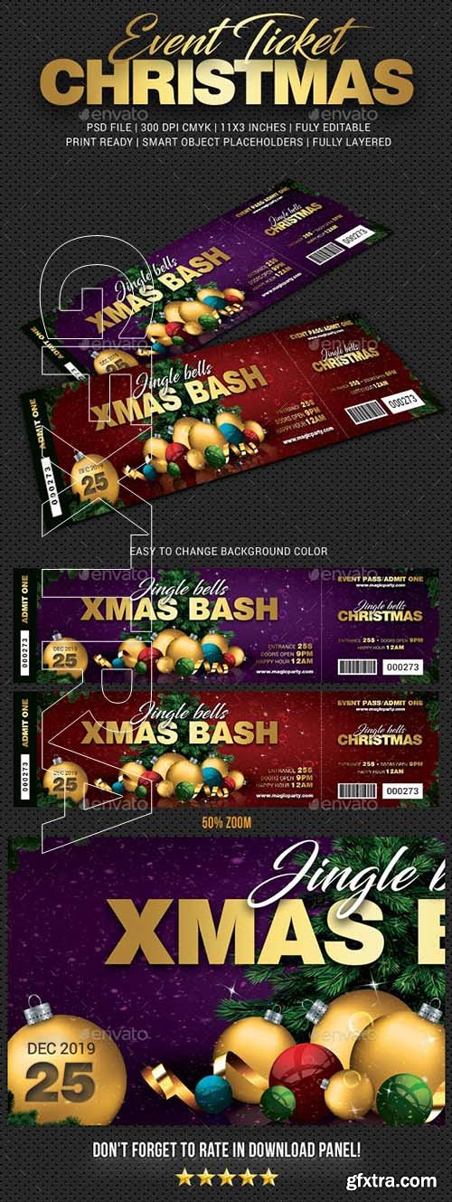 GraphicRiver - Xmas Bash Party Event Ticket 22968889