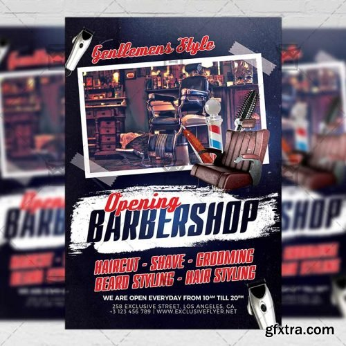 Barber Shop Opening - Business A5 Flyer Template
