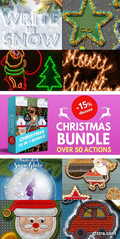 Graphicriver 10 in 1 Christmas Photoshop Actions Bundle