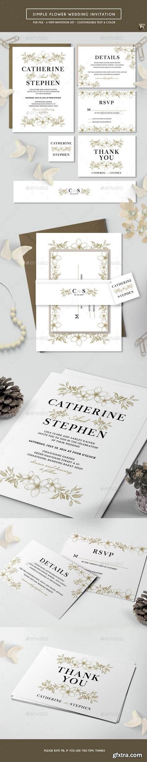 Graphicriver - Simple Flower Wedding Invitation 17743313