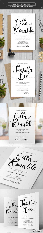 Graphicriver - Simple Wedding & Birthday Invitation 18513301