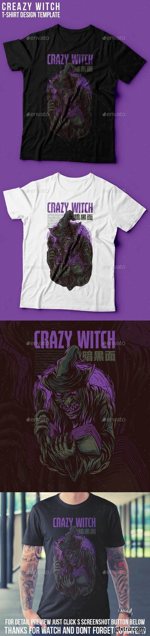 Graphicriver - Crazy Witch T-Shirt Design 22939377