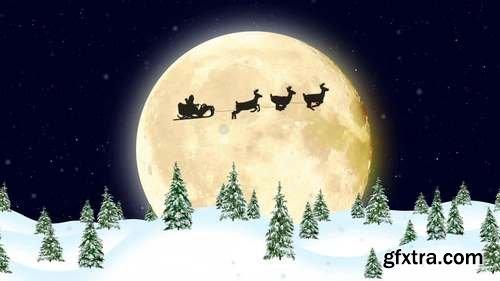 MA - Christmas Card - Santa Riding Sleigh Stock Motion Graphics 150224