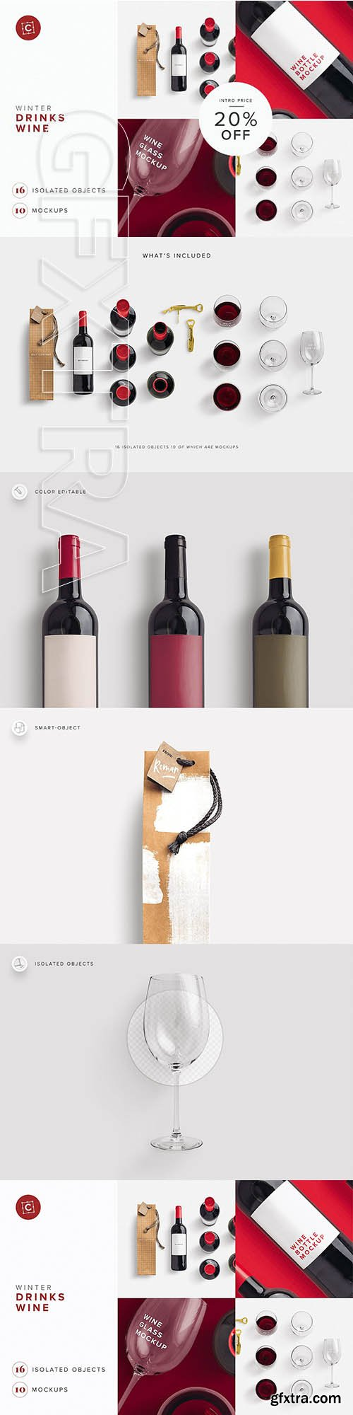 CreativeMarket - Wine Bottle Glass Bag PSD Mockup 3214180