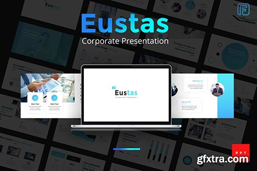 Eustas Blue Business Powerpoint, Keynote and Google Sliders