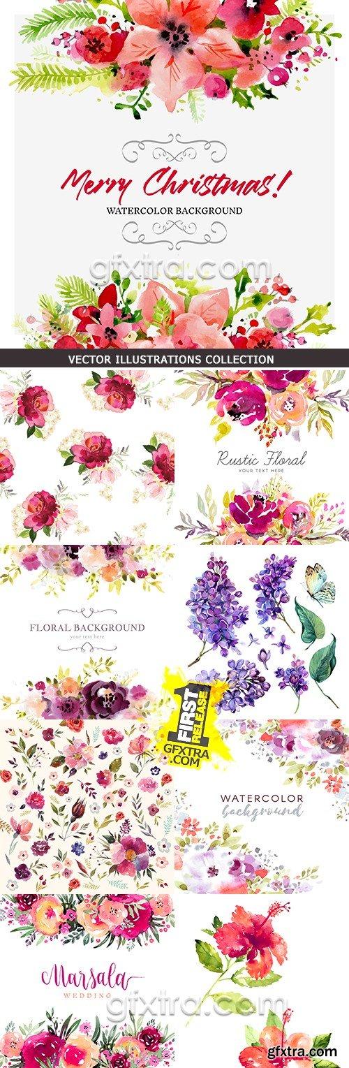 Watercolor flower compositions decorative design