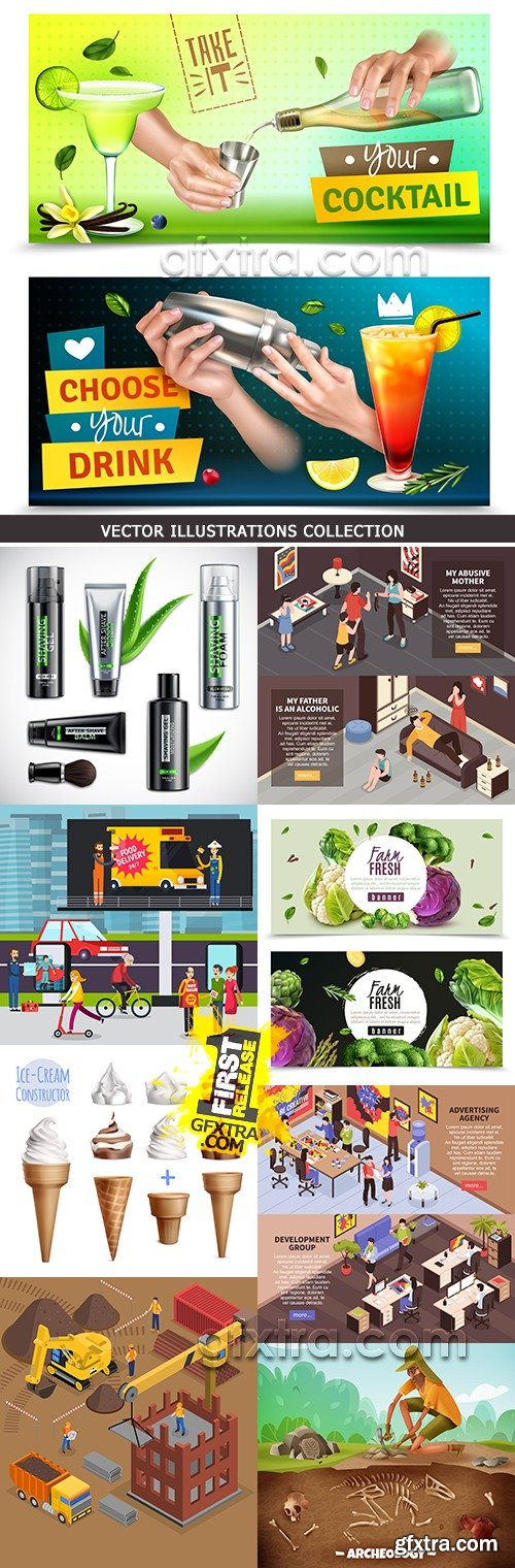 Modern vector illustrations collection different subjects 7