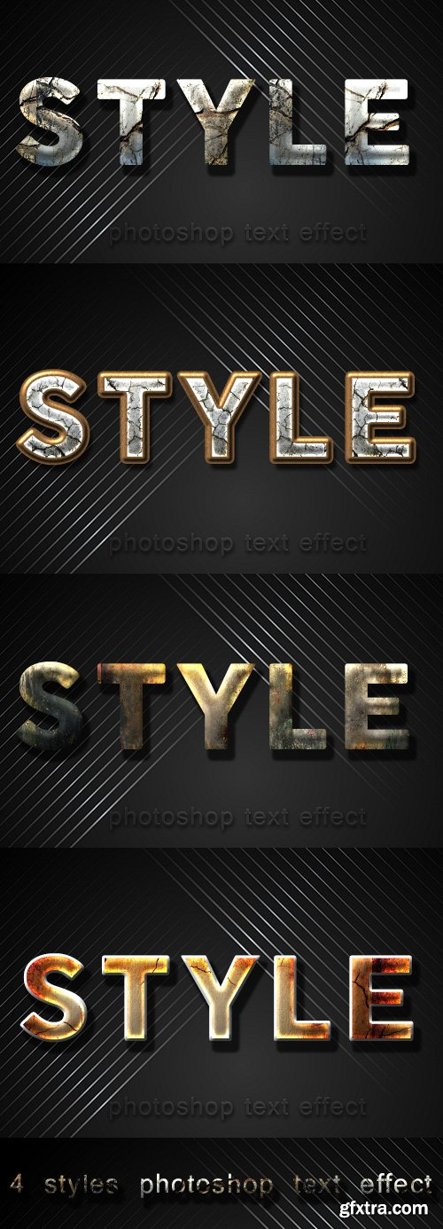 4 styles photoshop text effect