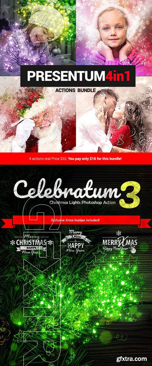 GraphicRiver - Presentum - 4in1 Photoshop Actions Bundle 22885539