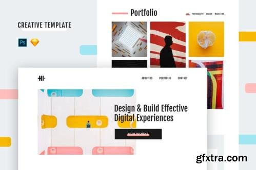 Hi Creative Template (PSD + Sketch)