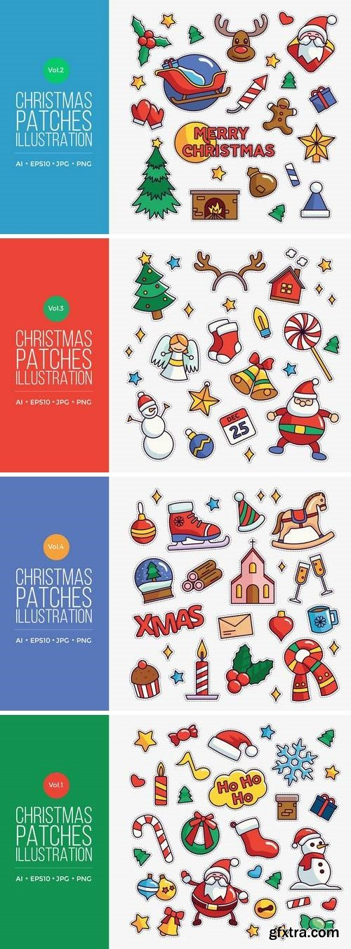 Cute Merry Christmas Patches Vector