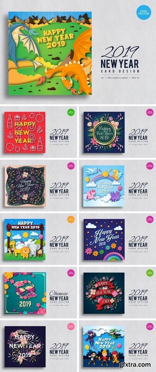 Happy New Year 2019 Vector Card Bundle