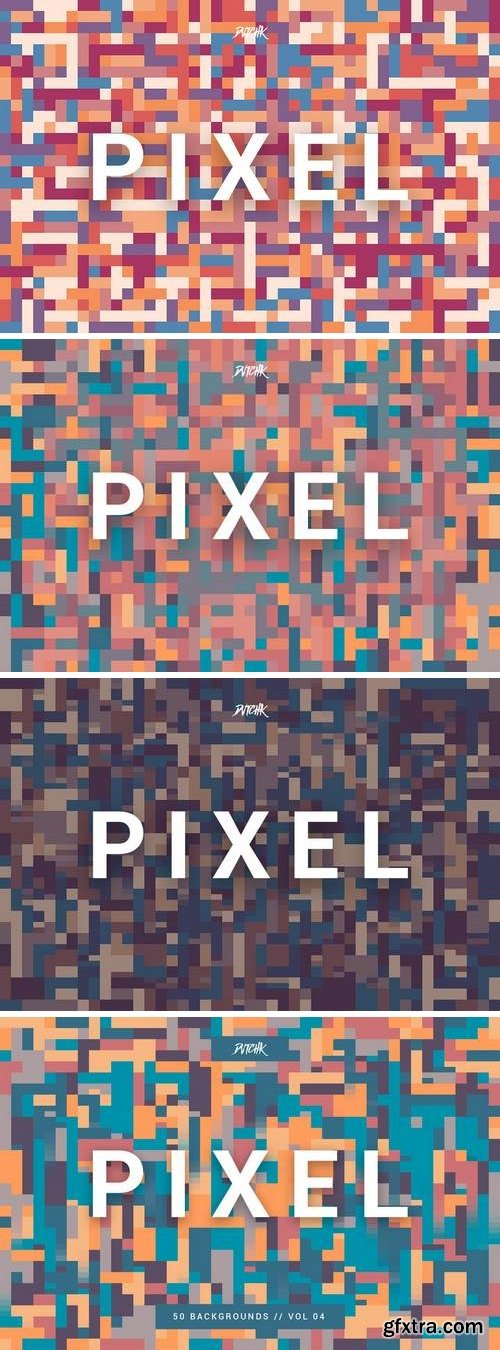 Pixel | Colorful Motion Square Backgrounds | V. 04
