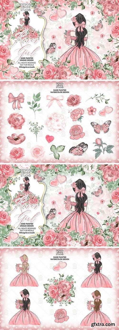 DesignBundles - Roses Girl design 176719