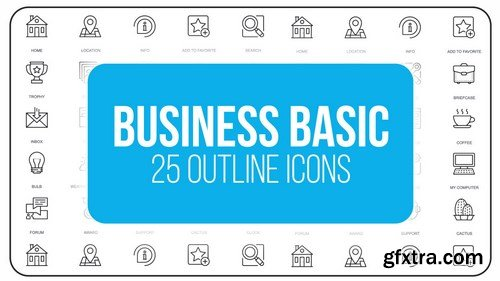 MA - Business Basic - 25 Outline Animated Icons After Effects Templates 149557