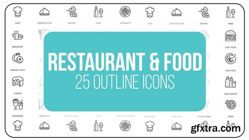 MA -  Restaurant And Food - 25 Outline Icons After Effects Templates 149606