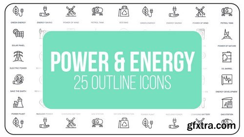 MA - Power And Energy - 25 Outline Icons After Effects Templates 149605