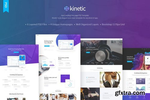 Kinetic - App Landing One Page PSD Template
