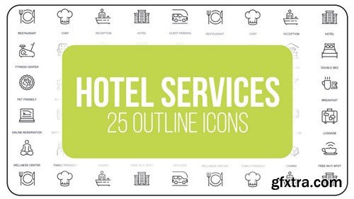 MA - Hotel Service - 25 Outline Icons After Effects Templates 149596
