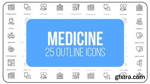 MA -  Medicine - 25 Outline Icons After Effects Templates 149598