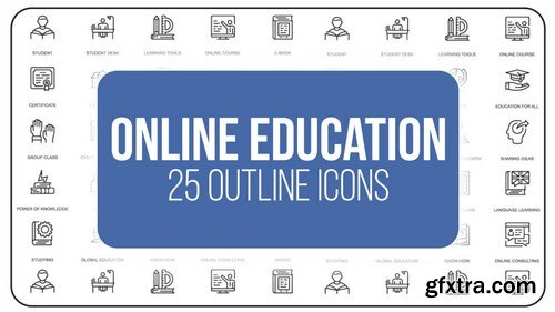 MA - Online Education - 25 Outline Icons After Effects Templates 149599