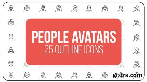 MA -  People Avatars - 25 Outline Icons After Effects Templates 149601