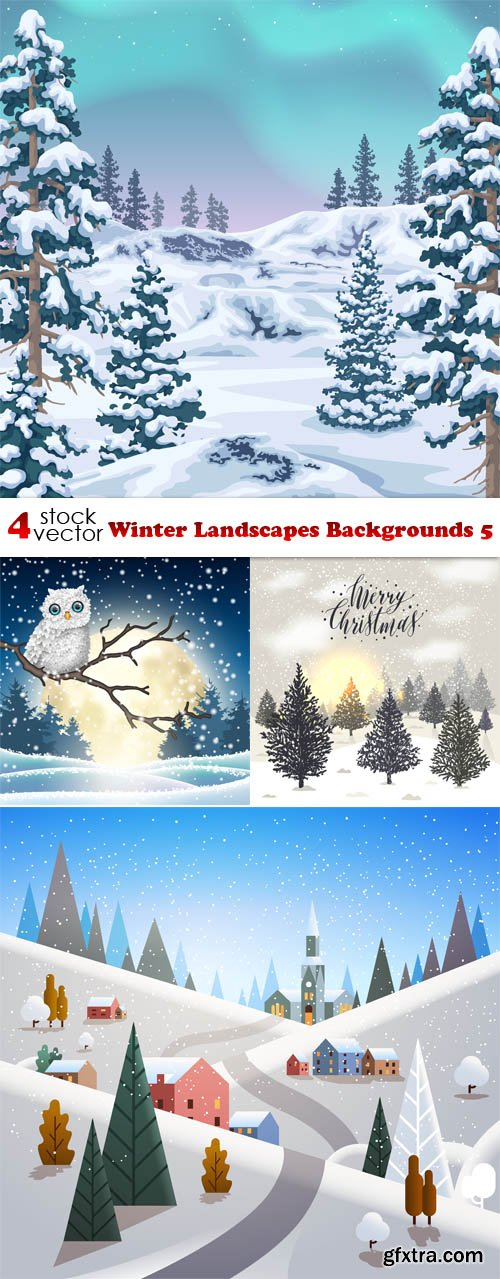 Vectors - Winter Landscapes Backgrounds 5