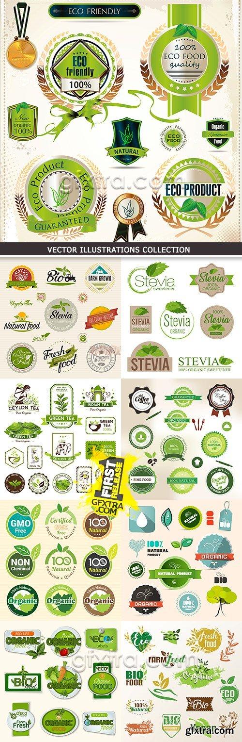 Badge certified organic natural fresh label set