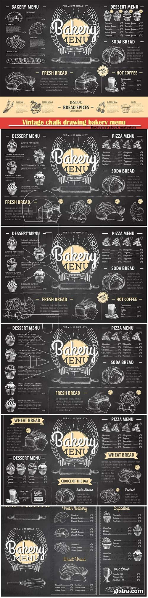 Vintage chalk drawing bakery menu vector design