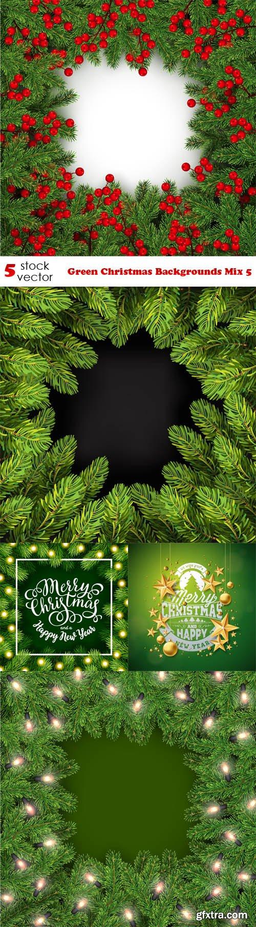 Vectors - Green Christmas Backgrounds Mix 5
