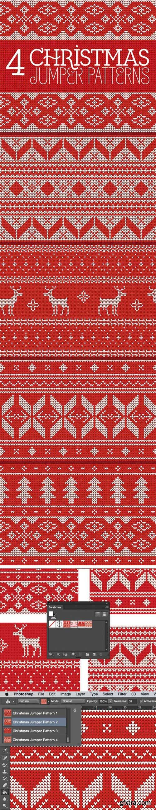 Knitted Christmas Jumper Seamless Patterns [Ai/PAT]