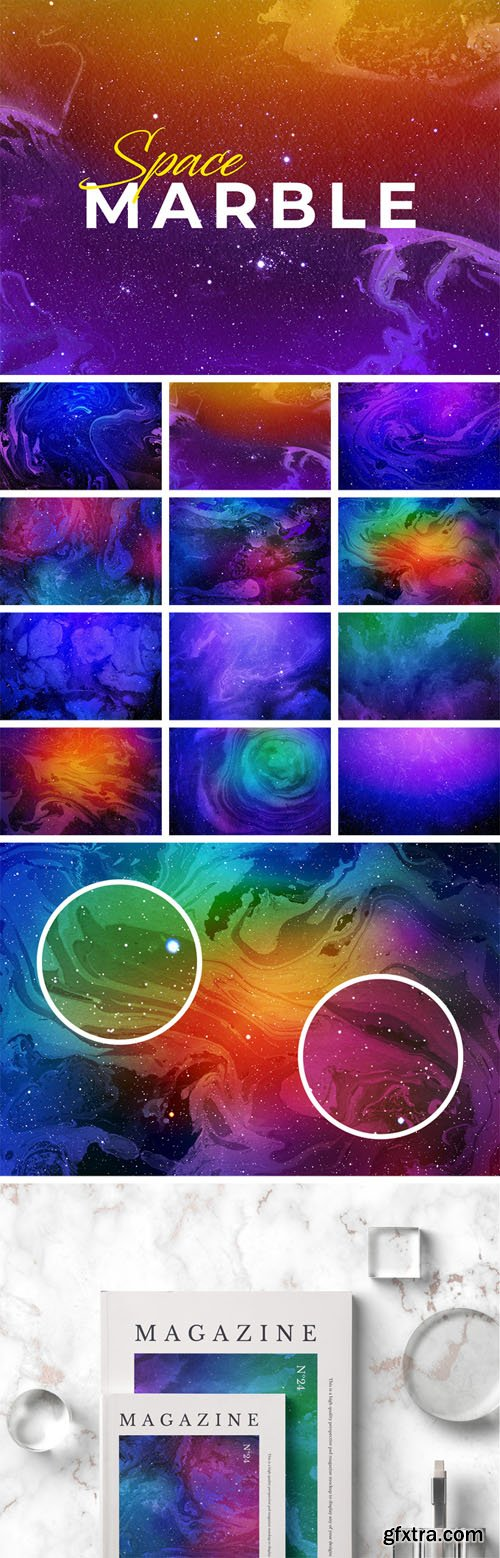 12 Space Marble Backgrounds Set