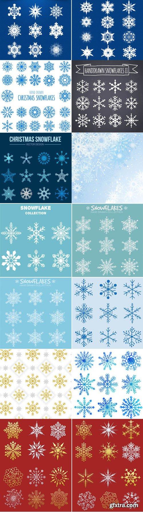 Vector Snowflakes Elements Bundle 2