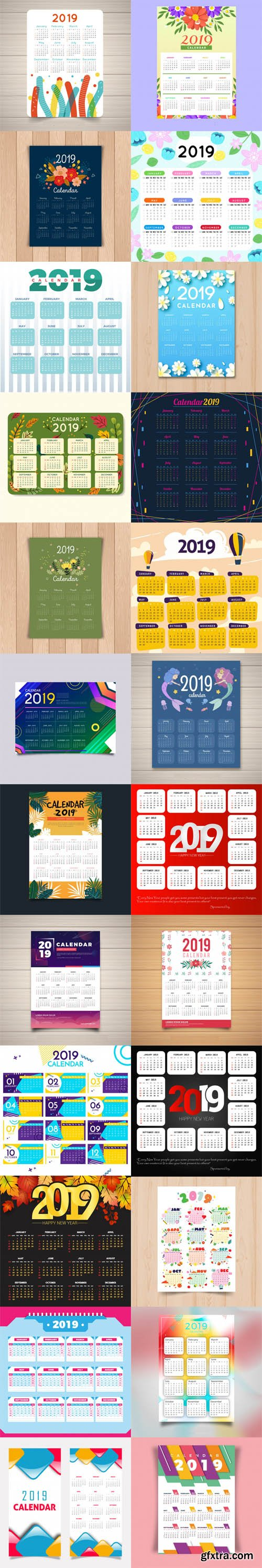 2019 Calendar Vector Templates Collection 3 [30 Calendar]